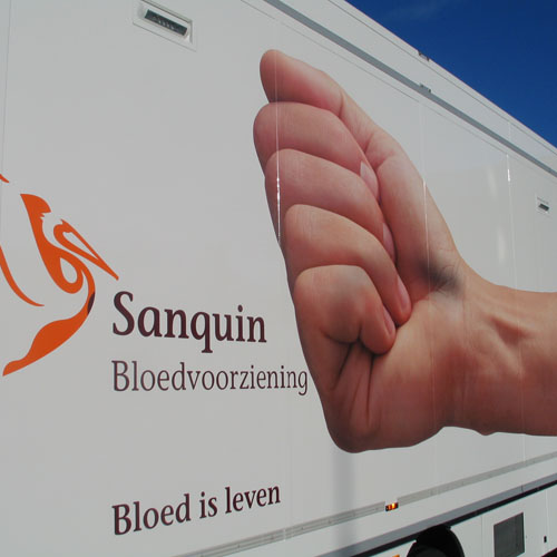 Trailerbestickering Sanquin