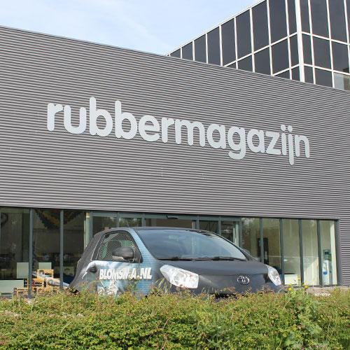 rubbermagazijn geveltekst