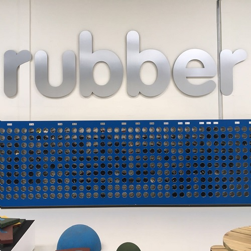 rubbermagazijn wandbelettering