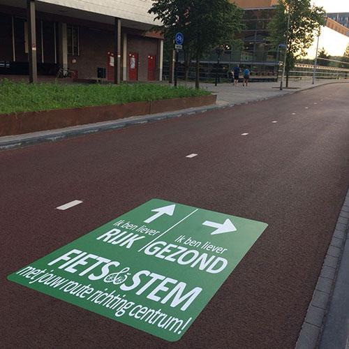 Straatsticker Fietsroute aanduiding Utrecht