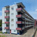 gevelrenovatie met folie appartementencomplex
