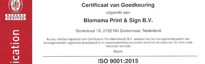 Header ISO 9001 certificaat voor Blomsma Print & Sign